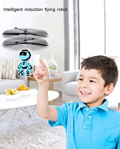 LtrottedJ Flying Mini RC Infraed Induction The Robot Flashing Light Toys for Kid Gifts (Blue) ()