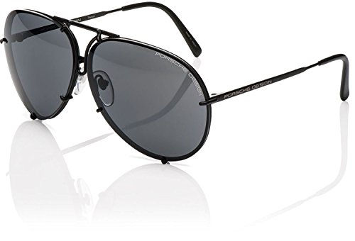 PORSCHE DESIGN P'8478D Aviator Sunglasses Black Matte Frame Size 63mm + Extra - Design Aviators Porsche