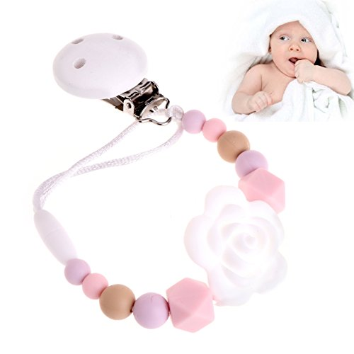 Shoresu Silicone and Wood Pacifier Clip Wooden Bead Dummy Clip Holder Cute Pacifier Clips Soother Chains Baby Teething Toy for Baby Chew White