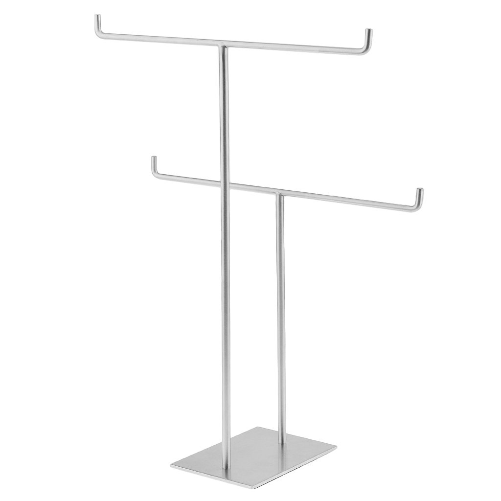 Dovewill 2-Layers Stainless Steel Retail Store Shop Jewelry Scarf Display Free Standing Holder Bathroom Hand Towel Rack Shelf Organizer