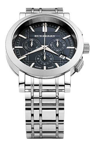 Burberry Heritage LUXURY Mens Unisex Stainless Steel Chronograph Watch Engraved Date Dial BU1360