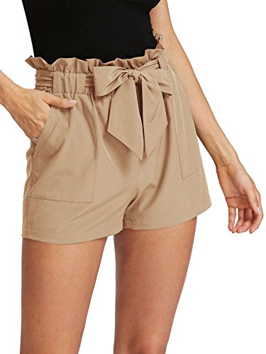 ROMWE Women's Casual Elastic Waist Bowknot Summer Shorts with Pockets Apricot L
