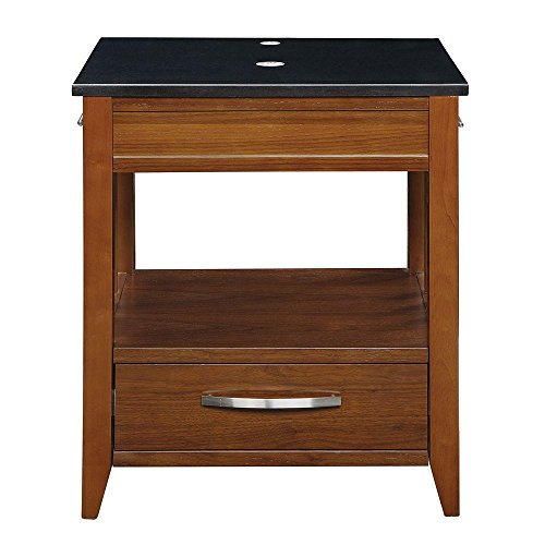 DECOLAV 5360-MWN Ambrosia Vanity with Black Granite Top, Medium Walnut