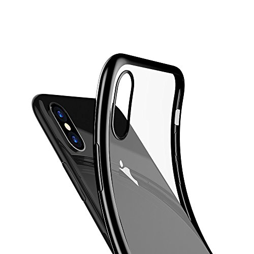 Ultra Electroplate iPhone X Case Transparent Back + Gloss Black Frame Wireless Charging Anti-scratch Shockproof