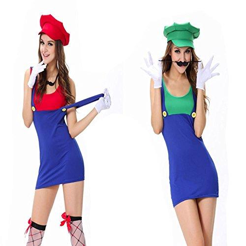 Cheap French Maid Costume Uk (Musamk Voluptuous Woman's Super Deluxe Luigi Skirt Version Adult XL Costume 4PC Set Green Attractive)