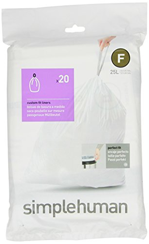 simplehuman Code F Custom Fit Trash Can Liner, 1 refill pack (20 liners), 25 Liters / 6.5 Gallons