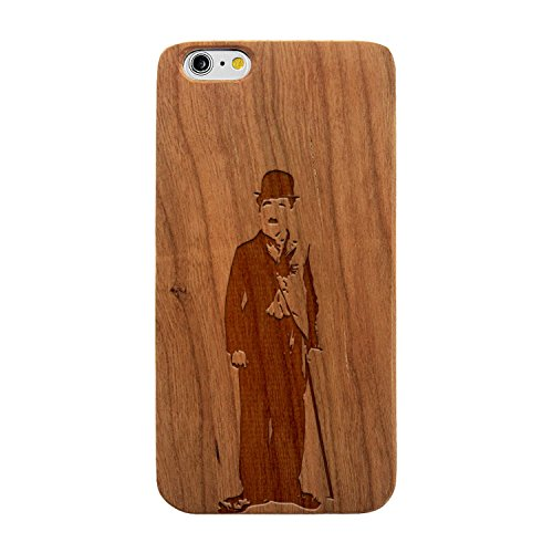 JewelryVolt Wooden Phone Case for iPhone 7 Plus Cherry Wood Laser Engraved Charlie Chaplin Sketch