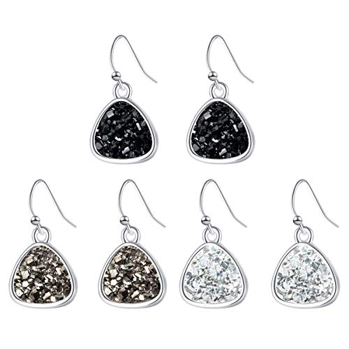 Triangle Druzy Earring Dangles Silver Plating Boho Jewelry with Black Gray White Gemstone for Girls Christmas Gifts - Earrings Gray Gemstone