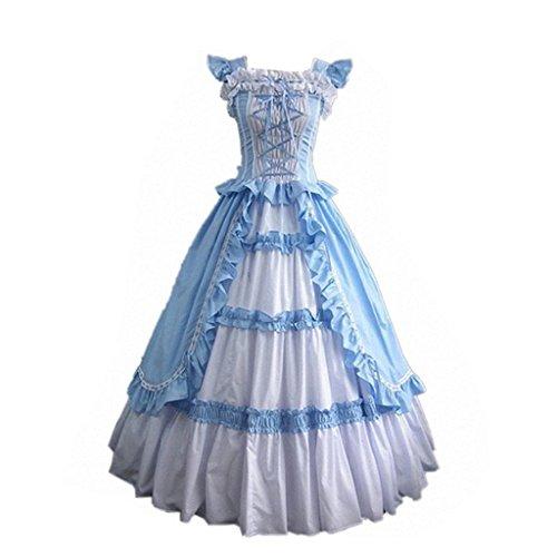 CosplayDiy Women's Square Neck Lolita Victorian Blue Dress Costume -