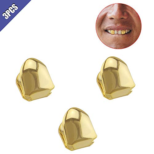 Comidox Gold Plated Hip Hop Single Teeth Grillz Caps Top Bottom Dental Grill 3Pcs