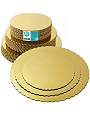 [30 Pack] 8 10 12 Inches Round Tierd Cake Boards Combo - Cardboard Disposable Layered Cake Pizza Circle Scalloped Gold Stackable Tart Decorating Base Stand