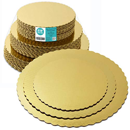 (8 10 12 Inches Round Tierd Cake Boards Combo - Cardboard Disposable Layered Cake Pizza Circle Scalloped Gold Stackable Tart Decorating Base Stand - 30 Pieces)