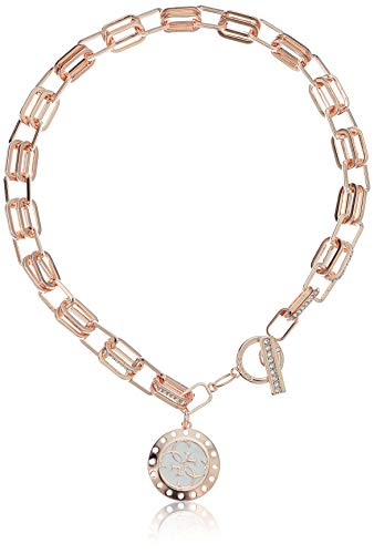 Necklace Toggle Link 16 (GUESS Women's Logo Update Pendant Necklace, Rose Gold)