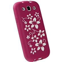 iGadgitz Pink & White Flowers Silicone Skin Case Cover for Samsung Galaxy S3 III i9300 Android Smartphone Mobile Phone + Screen Protector