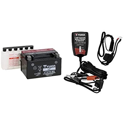 Yuasa YUAM32X7A YTX7A-BS Battery and Automatic Charger Bundle