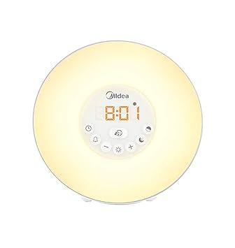 Reloj Despertador Sunrise, Reloj Digital con Luz De Despertador LED para Habitaciones con Control Táctil Luz De 7 Colores, 6 Sonidos Naturales, ...
