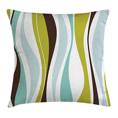"""Ambesonne Vintage Throw Pillow Cushion Cover, Abstract Horizontal Vibrant Shape, Decorative Square Accent Pillow Case, 16"""" X 16"""", Apple Green"""