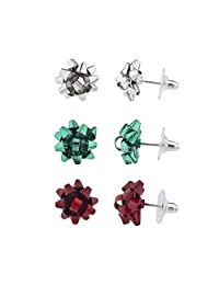 Lux Accessories Holiday Christmas X-Mas Present Bow Multi Earring Set (3PCS)