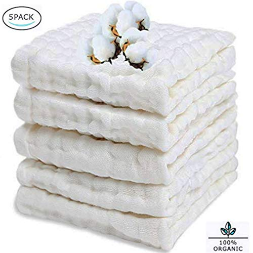 BELIZ - 100% Organic Cotton Muslin Baby Burp Cloths 10 to 20 Large 5 in a Pack 9 Layers Extra Absorbent and Soft Unisex Cloth Diapers Baby Washcloths (White)