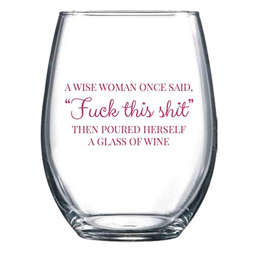 Wine Glass Funny for Women 15oz Stemless - Great Going Away Gifts for CoWorkers Birthday Christmas Gifts Under 20 Dollars ()