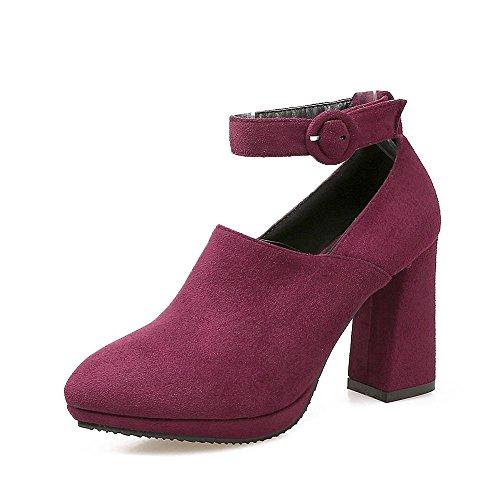 GJDE Moda Zapatos con Tacon Alto Para Mujer Plataforma Hebilla del Cinturón de Gamuza Zapatos de Tacón alto con Gruesa Wine Red