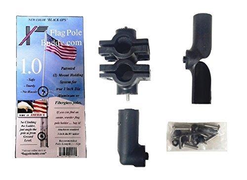 RV Flag Pole Mount Set 1.0 inch by FlagPole Buddy for 12 Foot Tall Poles (Black) by FlagPole Buddy by FlagPole Buddy