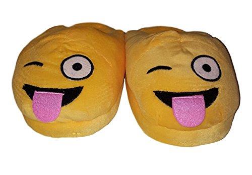 Wacky Emoji Sized Adult Slipper Plush S080IqFaw