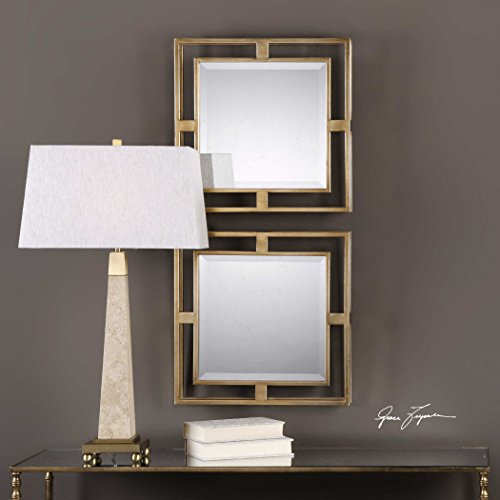 The Gold Square Mirrors Allick Gold Square Mirrors S/2