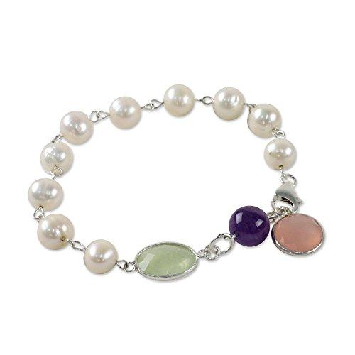 NOVICA Amethyst White Cultured Freshwater Pearl .925 Silver Link Bracelet, 7