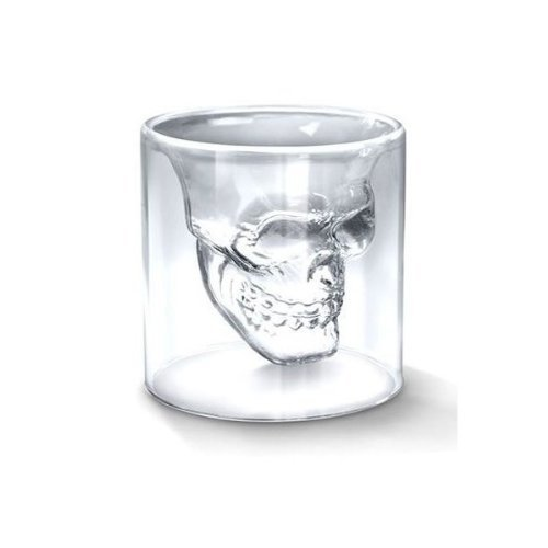 COJOY Wine Glass Skull Head Skull Shape 75ml Vodka Whisky transparent crystal CupDouble Layer Transparent Drink Cocktail MugsThick Base Creative Halloween Mug 2.5oz -