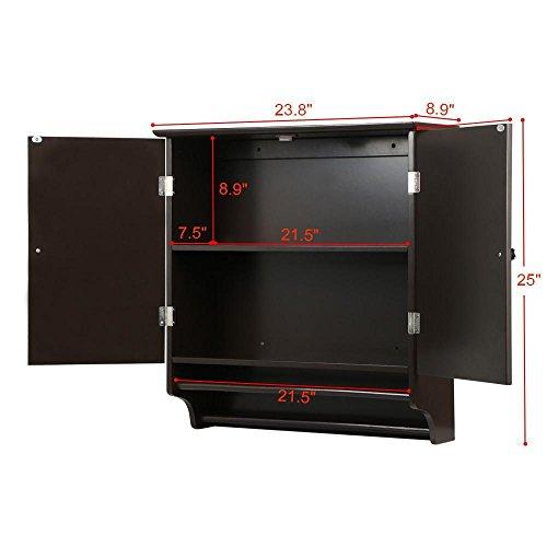 go2buy Wall Mounted Cabinet Kitchen/Bathroom Wooden Medicine Hanging Storage Organizer, Espresso by go2buy (Image #1)