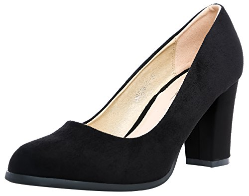 Block Heel Classic Pump (SHENBO Classic Round Closed Toe Chunky Block Women's Pumps (EUR 39/US 9, Black))