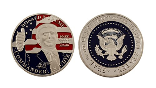 Lane Co US 45th President Donald Trump Commemorative Silver Commander in Chief Eagle Novelty Coin 38mm x 3mm