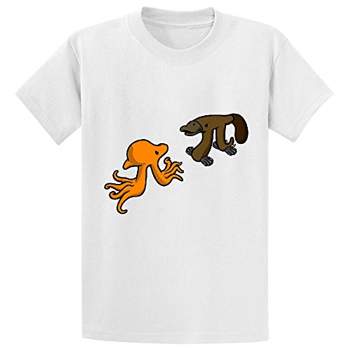 Octopi Vs Platypi Girls Crew Neck Print T Shirts (Schmidt Beer Glasses)