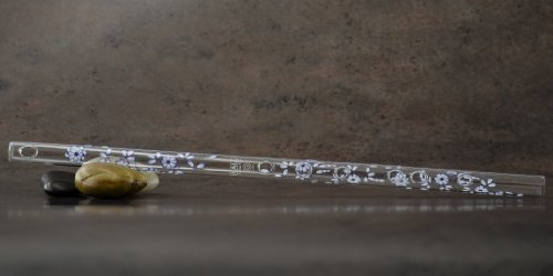 Hall Crystal Flute 11716 - Inline Glass Flute in G - Blue (Delft Music Box)
