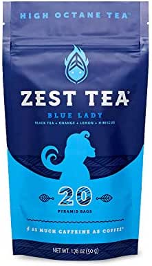 Zest Tea Energy Hot Tea, High Caffeine Blend Natural & Healthy Traditional Black Coffee Substitute, Perfect for Keto, 150 mg Caffeine per Serving, 20 Sachets (1 Pouch), Blue Lady Black Tea