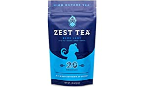 Zest Tea Energy Hot Tea, High Caffeine Blend Natural & Healthy Coffee Substitute, Perfect for Keto, 20 servings (150mg Caffeine each), Compostable Teabags (No Plastic) - Blue Lady Black Tea