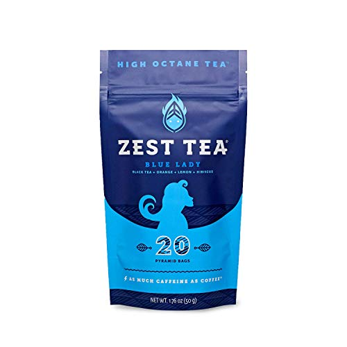 (Zest Tea Premium Energy Hot Tea, High Caffeine Blend Natural & Healthy Traditional Black Coffee Substitute, Perfect for Keto, 150 mg Caffeine per Serving, Blue Lady Black Tea, Pouch of 20 Sachet Bags)