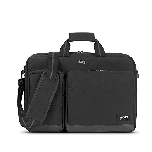 Solo Duane Convertible Briefcase. Fits Up to A 15.6-Inch Laptop. Converts To Backpack, Briefcase or Messenger Bag. Laptop Bag for Men or Women - Black