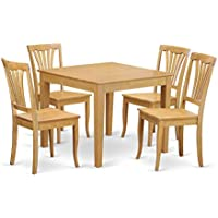 East West Furniture OXAV5-OAK-W 5-Piece Kitchen Table and Chairs Set, Oak Finish