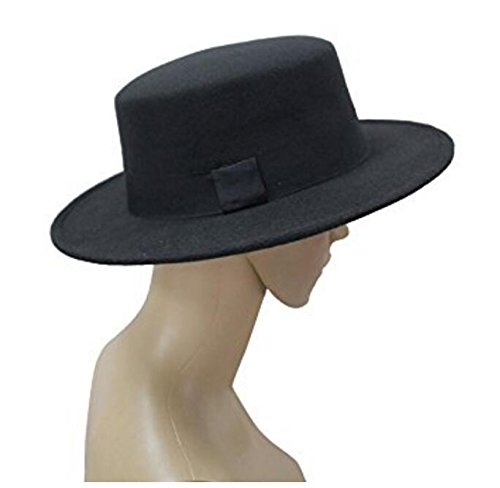 52dbf3e89f9 ASTRQLE Classic Black Fashion Fedora Flat Hat Elegant Jazz Hats Brim Church  Derby Cap ()