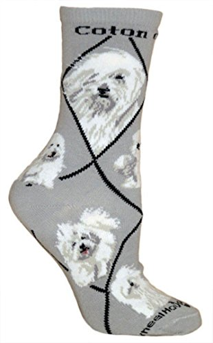Coton de Tulear on Gray Ultra Lightweight Stretch Cotton Crew Socks One Size made in New England