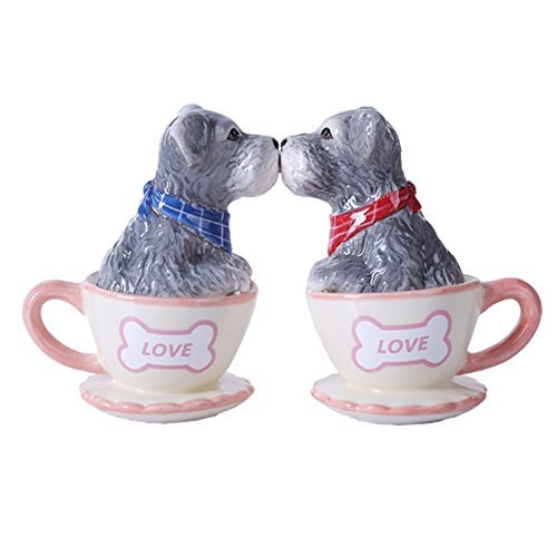 Schnauzer Puppy Love 3 inch Ceramic Stoneware Salt and Pepper Shaker Set by Pacific Trading