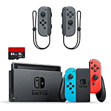 Nintendo Switch 3 items Bundle:Nintendo Switch 32GB Console Neon Red and Blue Joy-con,64GB Micro SD Memory Card and an Extra Pair of Nintendo Joy-Con (L/R) Wireless Controllers Gray