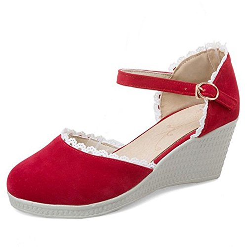 Coolcept Women Solid Buckle Ankle Strap Peep Toe Wedges Sandals Shoes 1815red lxtyueB