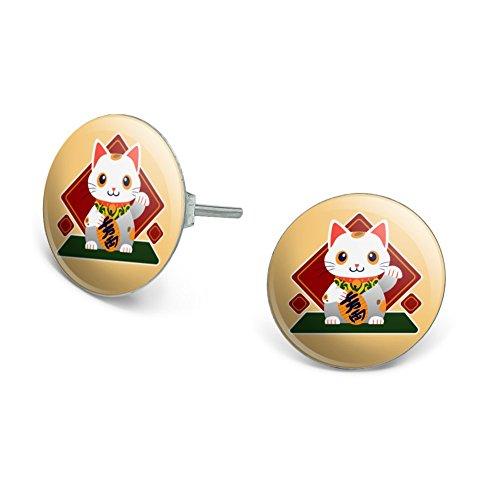 Cute Lucky Cat Maneki-Neko Novelty Silver Plated Stud (Maneki Neko Costume)