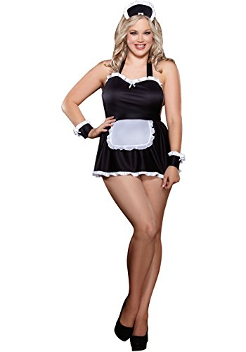 Dreamgirl Women's Plus-Size Maid Me Dirty Babydoll, Black/White, One Size (Sexy Lingerie Dreamgirl)