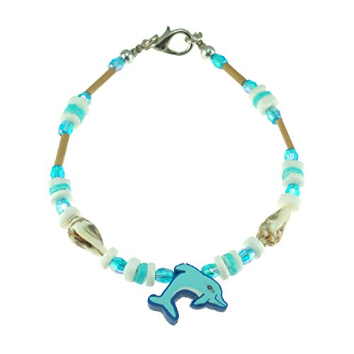 Nassa Tiger (Fimo Dolphin on Puka Clam & Tiger Nassa Shells Beaded Bracelet with Wood Tube Beads& Glass Beads (Blue))
