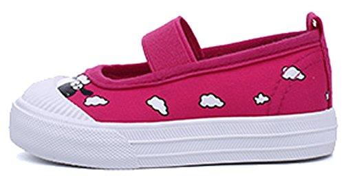 VECJUNIA Kinder Mädchen Jungen Blumen Moccasin Stoff Loafers Elastisches Band Komfort Babyschuhe Rosa