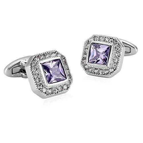 0864720ba3cd Epinki Hombre Acero Inoxidable Gemelos Plata Púrpura Rhine con Piedra  Cuadrado Cristal Botones de Puños Para